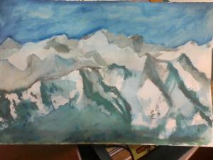 Watercolor of Hurricane Ridge by Elaine Kitch, cell-phone photo taken by Andrew Shaw-Kitch, inspired by vacationers